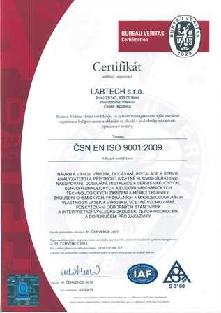 LABTECH Certifikat 9001